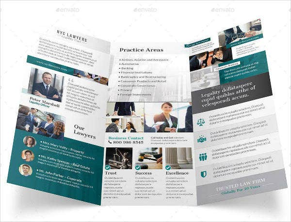 Editable Trifold Attorney Brochure Template