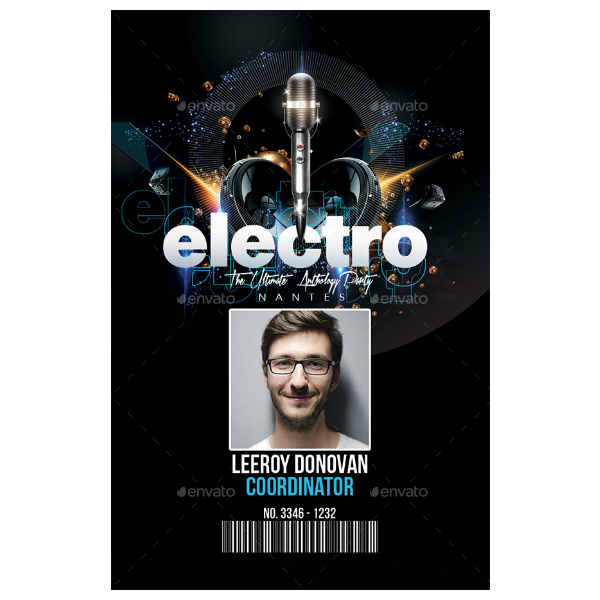 Electro Club Vertical ID Card Template