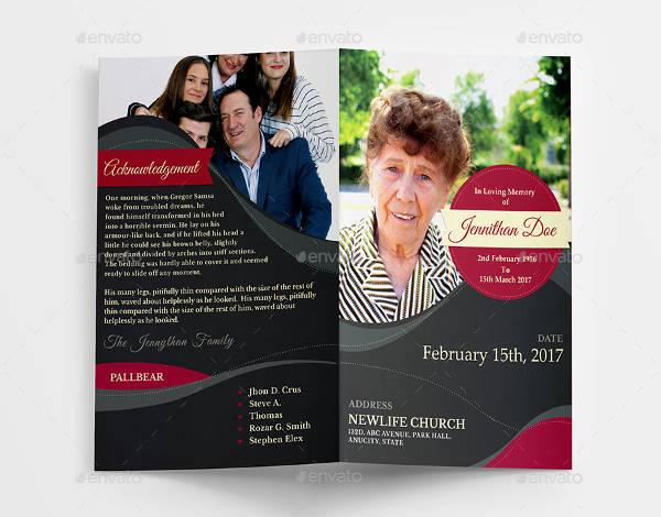Elegant Funeral Program Thank You Card