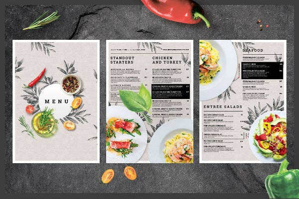 Elegant Restaurant Menu Card Example