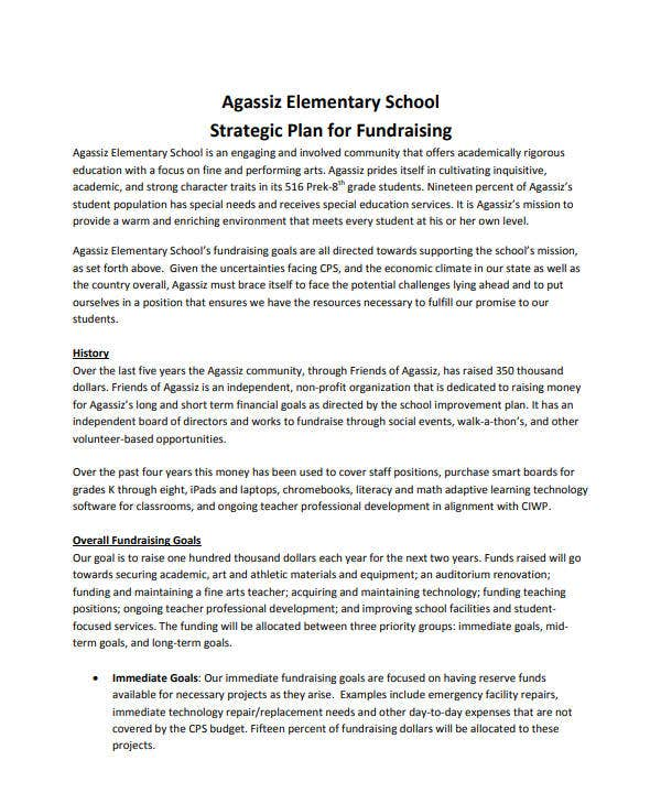 elementary school strategic plan for fundraising