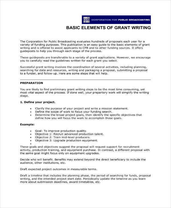 Elements of Grant Writing Proposal