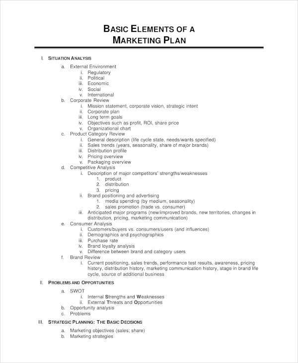 elements of a product marketing plan1