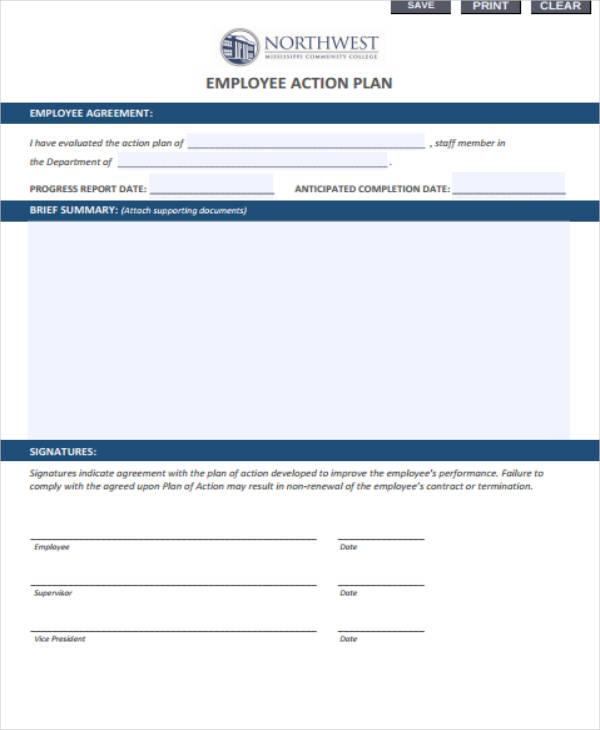 Employee Action Plan Sample