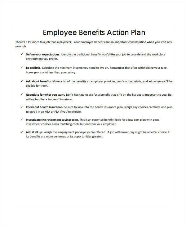 employee benefits action plan