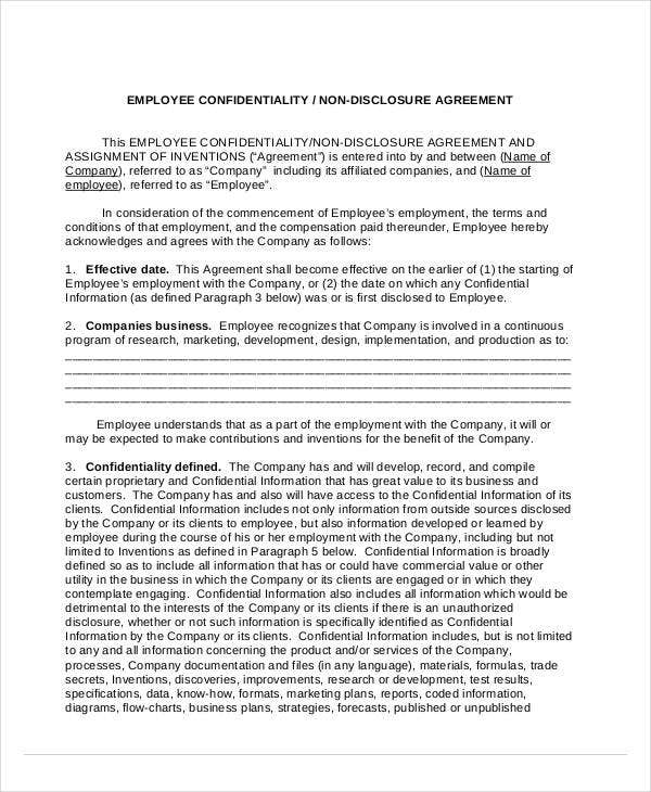 employee confidentiality non disclosure agreement