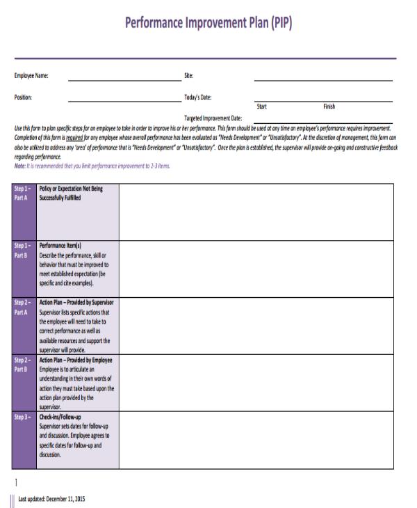 employee performance improvement plan sample template1