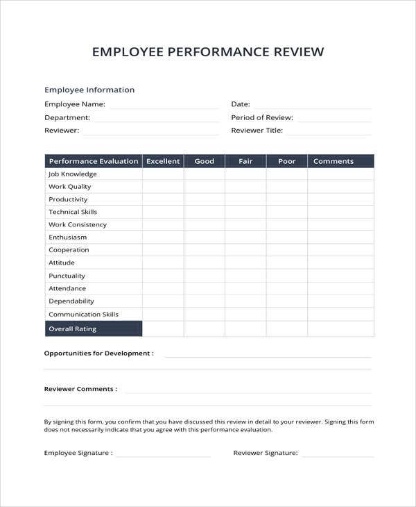 Performance Review Template | 9 Sample Performance Review Templates Pdf Doc Free Premium