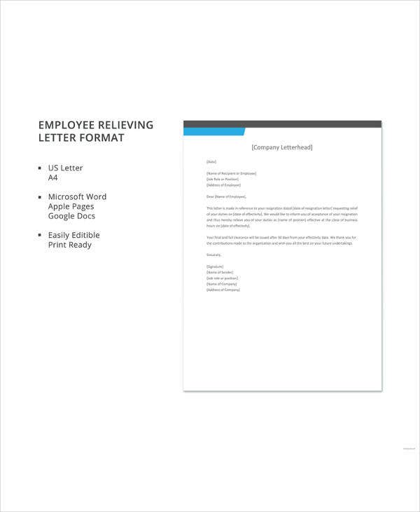 employee relieving letter format