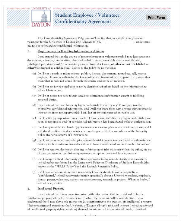 employee volunteer confidentiality agreement