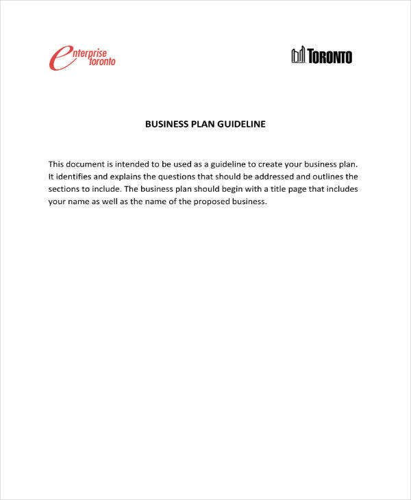 Enterprise Business Plan Guideline