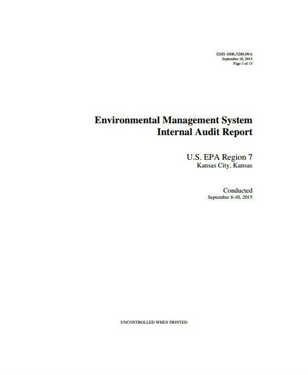 environmental management audit report template