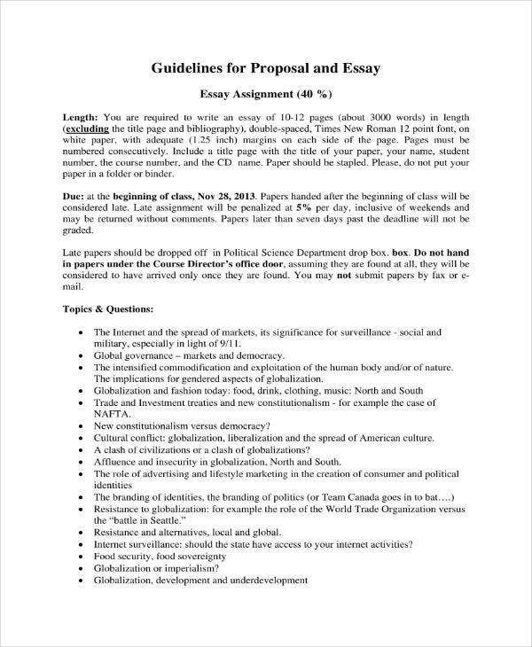 essay proposal outline templates   pdf doc  free  premium  essay proposal assignment example