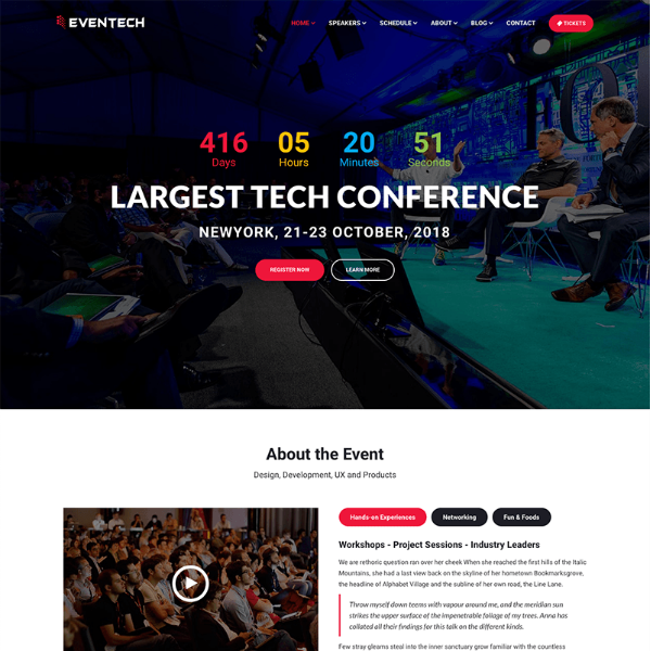 eventech conference website template