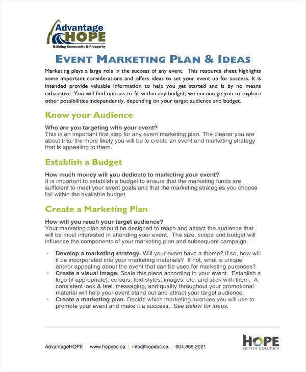 Event Marketing Plan Example