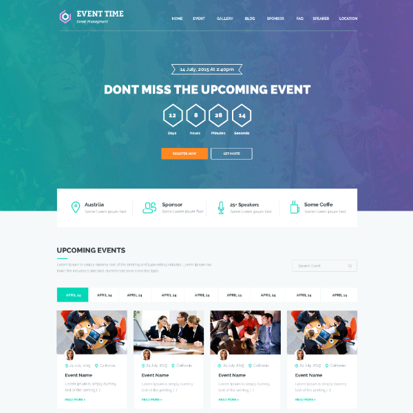 EventTime Conference Website Template