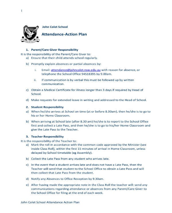 example of attendance action plan 11