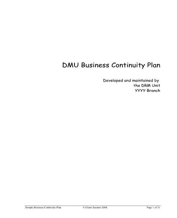 example of business continuity plan 01