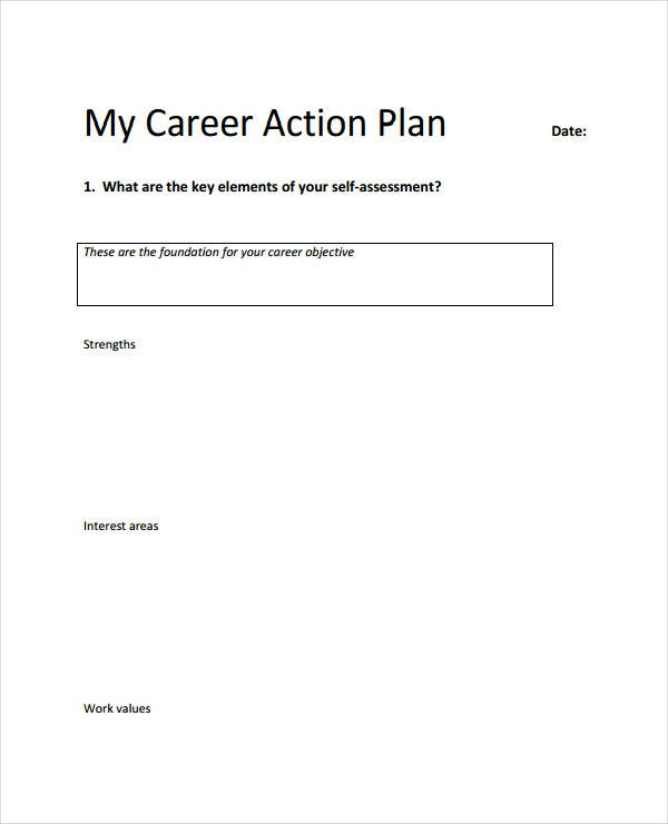 example of career action plan