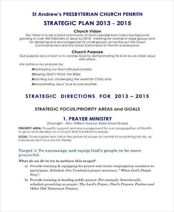 Example of Church Strategic Plan
