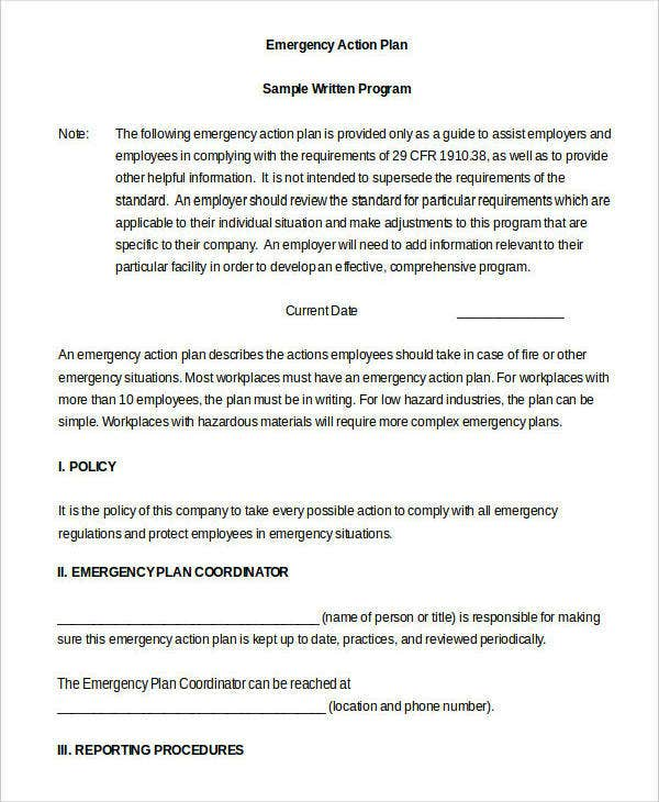 Example of Emergency Action Plan in DOC