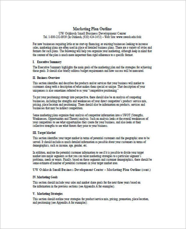 example of one page marketing plan1