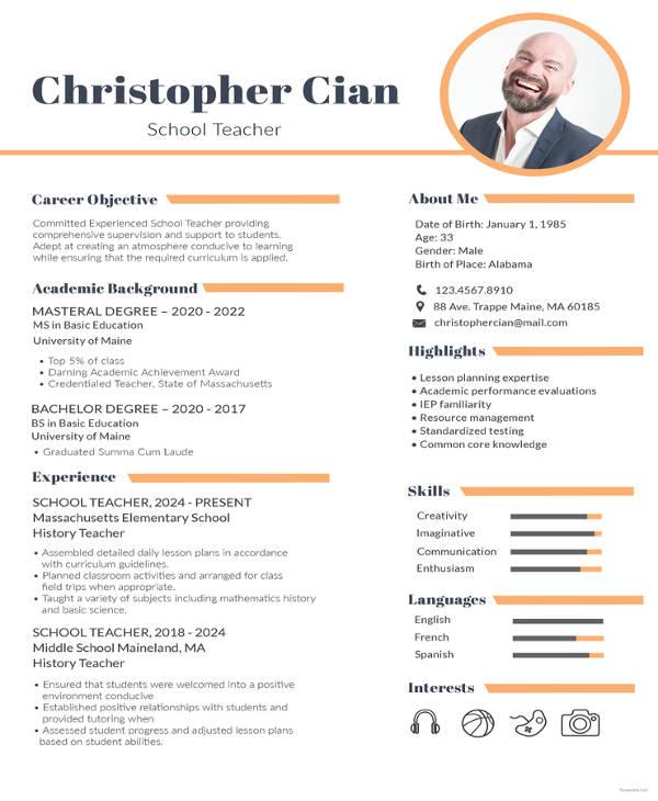experienced school teacher resume template