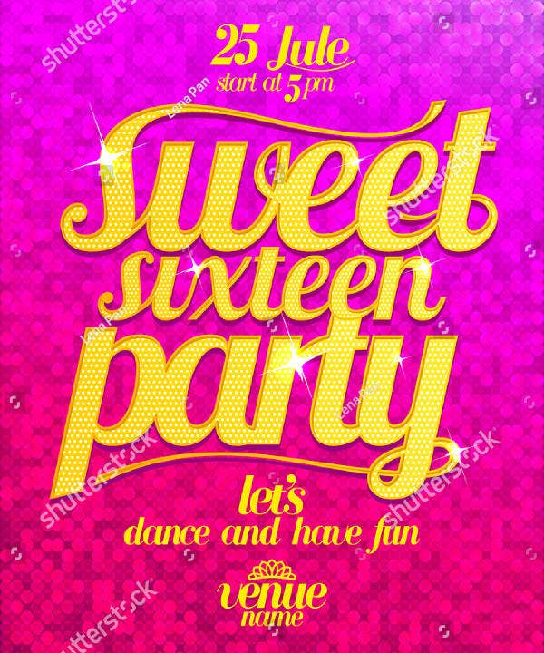 Fashion Sweet Sixteen Party Banner Template