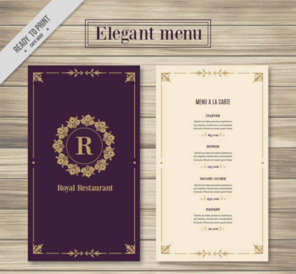 Fast Food Restaurant Menu Example