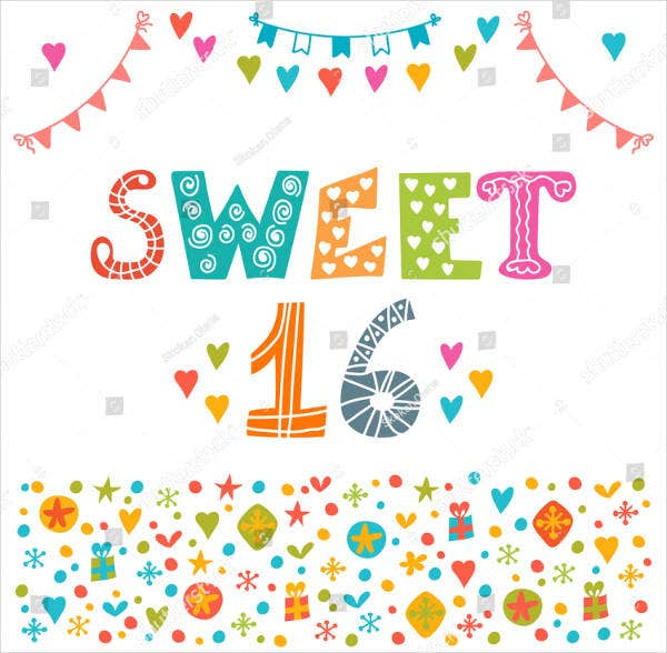 festive sweet sixteen invitation banner design1
