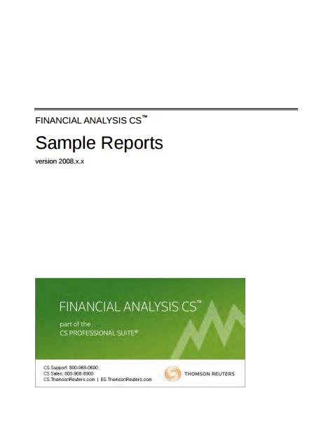 financial analysis sample reports