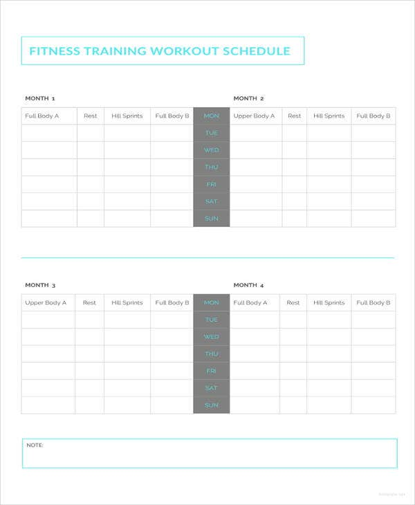 fitness training workout schedule