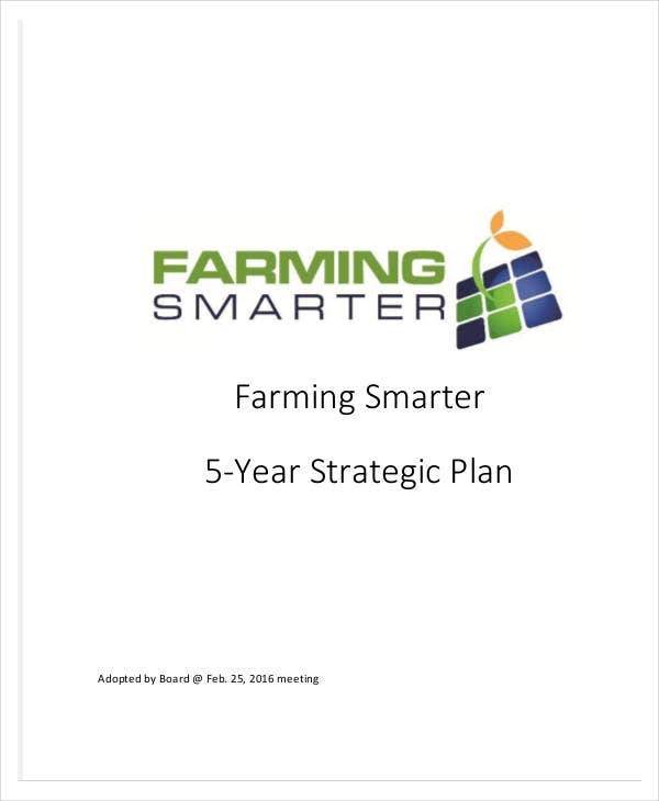 five year strategic plan for farming