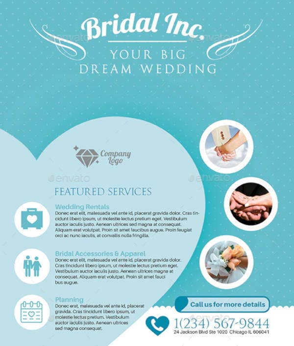 Flat Themed Wedding Planner Flyer Template
