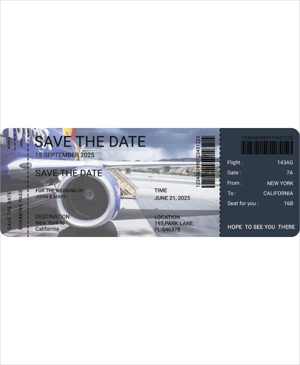 flight boarding pass wedding invitation template