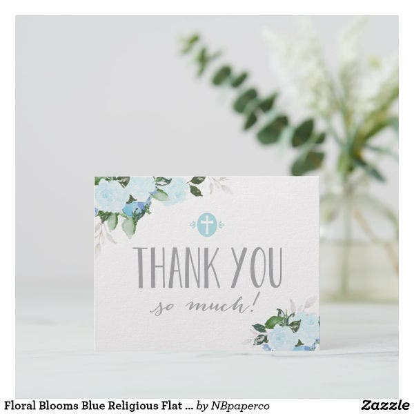floral religious thank you card template