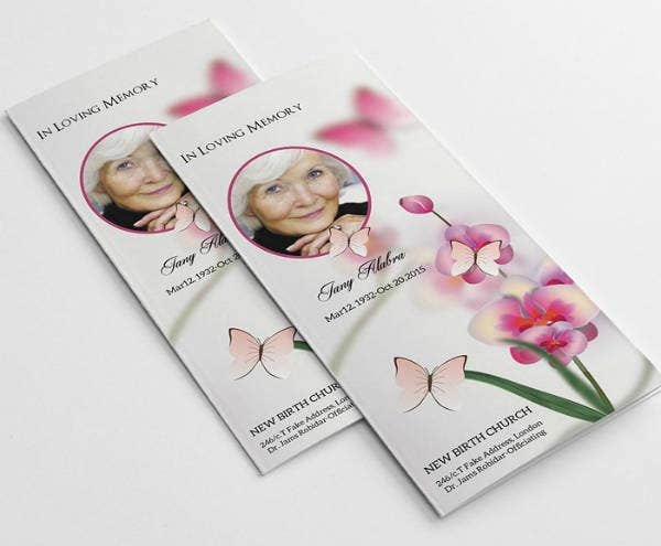 floral themed funeral service brochure