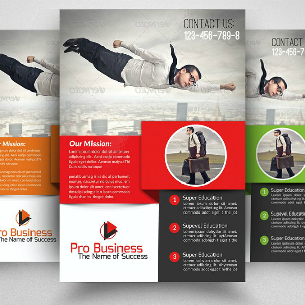 Flying Man Corporate Strategy Flyer Template