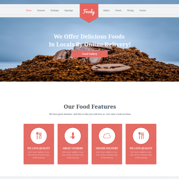 foody restaurant management website template