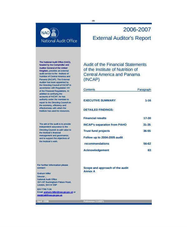formal external audit report template