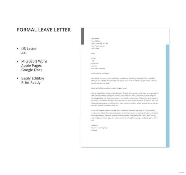 formal leave letter template