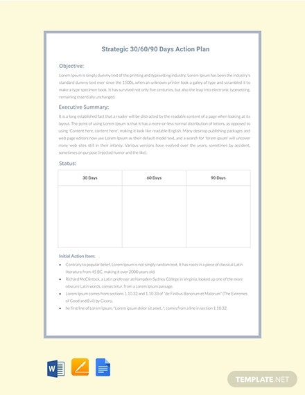 free 30 60 90 days action plan strategy template