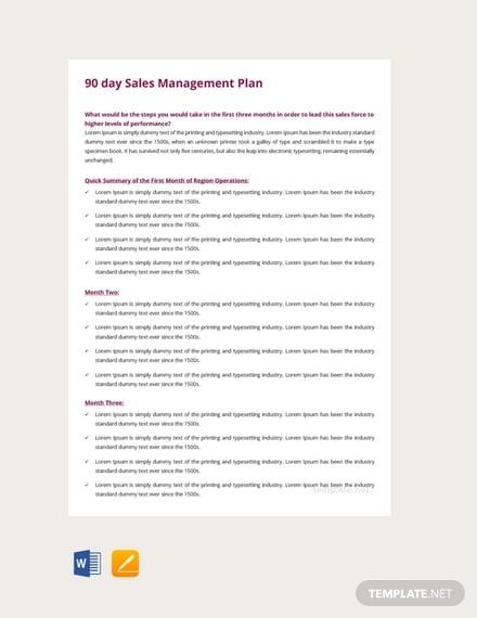 free 90 days sales management plan template1