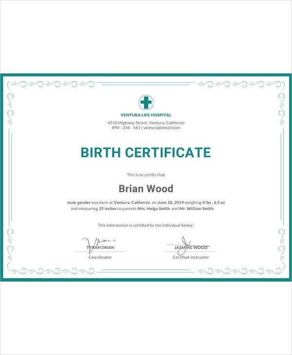 free birth certificate template