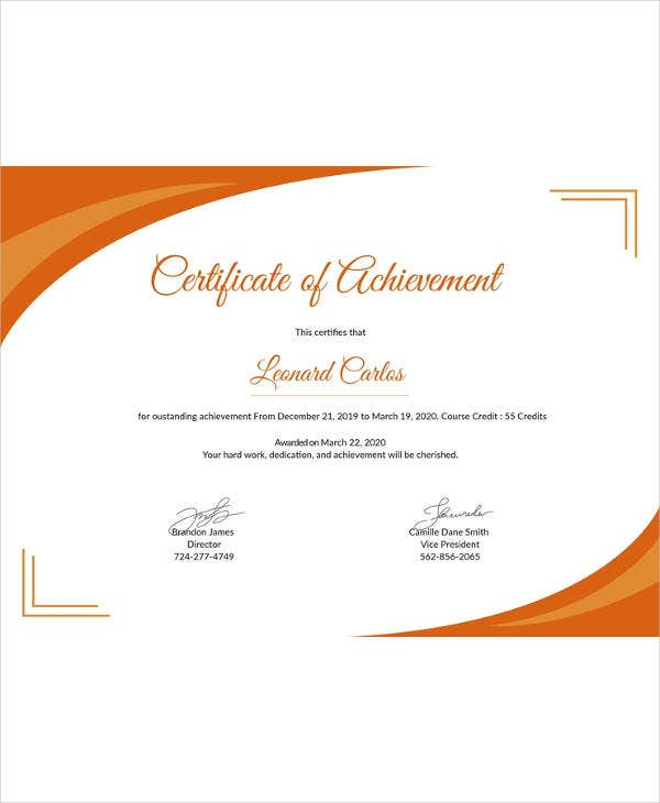 free certificate of achievement template1