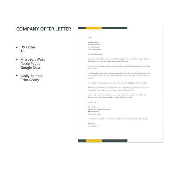 Company Offer Letter Template - 10+ Free Word, PDF Format