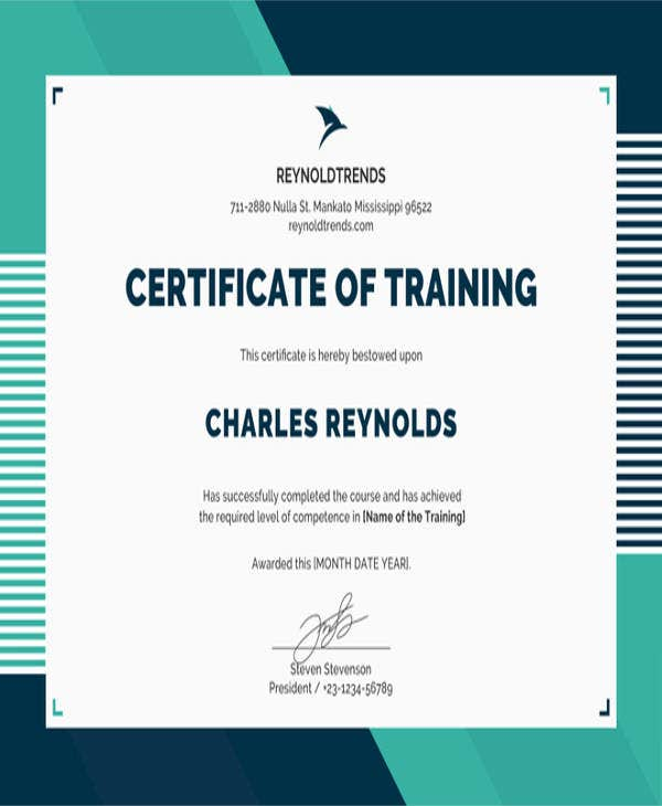 free company training certificate template1