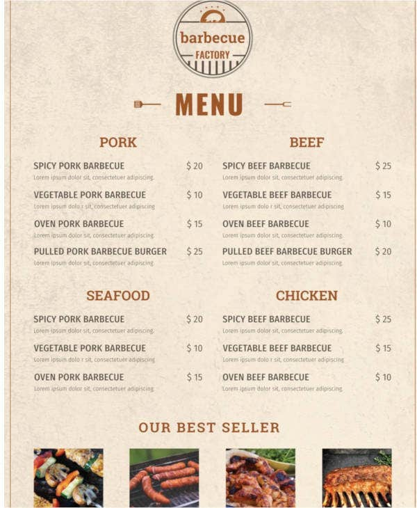free minimal barbecue menu template1