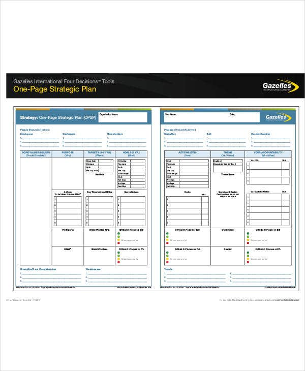 Free One Page Strategic Plan