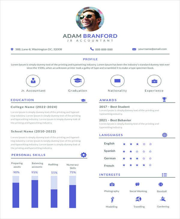free simple junior accountant resume template